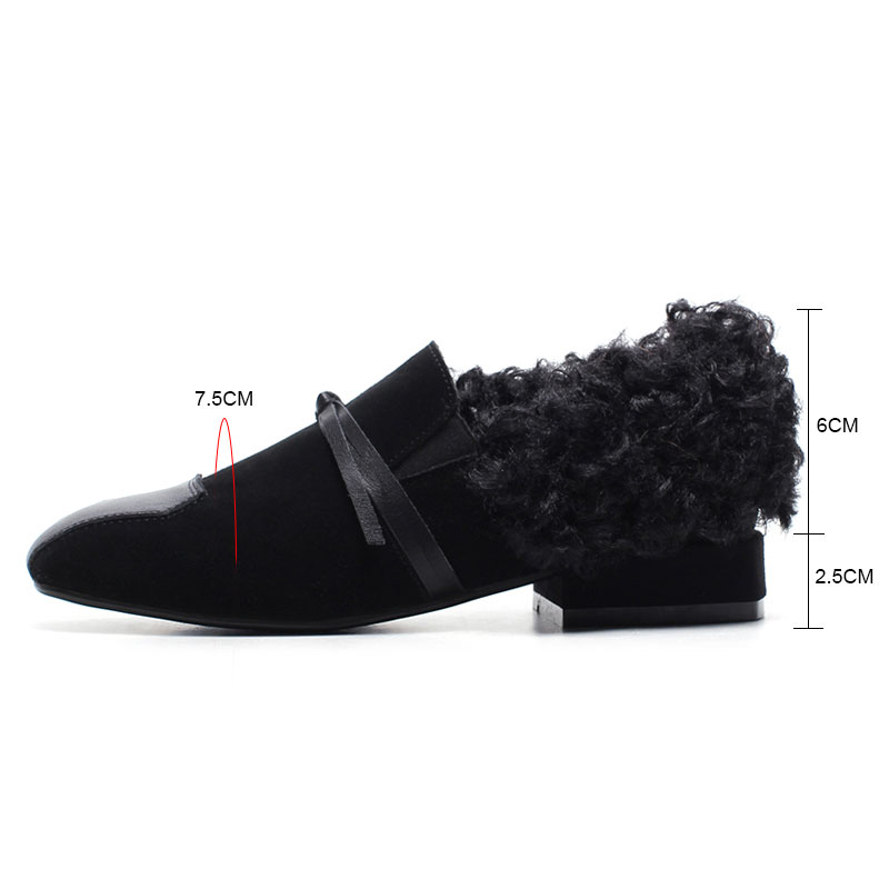 Papillon Daim Chaussures Daitifen Appartements Automne Peluche noeud jiaotangse Vache Solide Confortable Casual Courte Slip Femmes Black Carré Bout En Mocassins on 4zF6zxvw0q