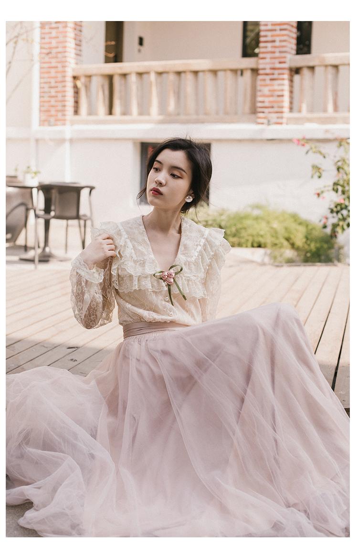 本日の割引 Health 新ファッション女性ツーピースセットサマードレスセットレトロフランスの春ブラウス IOW 11