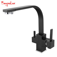 Bagnolux Wholesale New Osmosis 100% Copper Swivel Square Style Sink Mixer Drinking Water Kitchen Faucet 3 Way Water Filter Tap