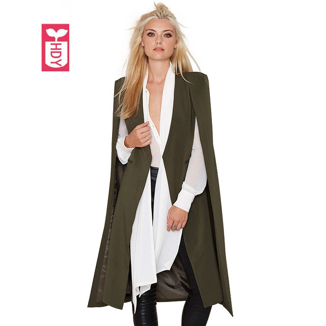 HDY Vogue Europe Fashion Winter Army Green Cape Womens Overcoat Formal Cloak long wind Outerwear Business Suit Coat 2017