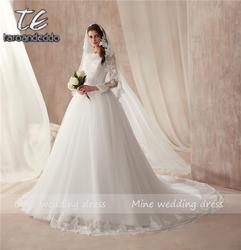 Просвечивающий с высоким воротником с длинным рукавом Белый Тюль вечерние, свадебные платья платье кристаллами повязки/на шнуровке, для