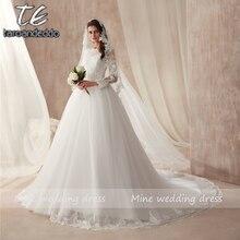 Vestido de boda de tul blanco de manga larga de cuello alto transparente con tiras de cristales/vestidos de novia de encaje