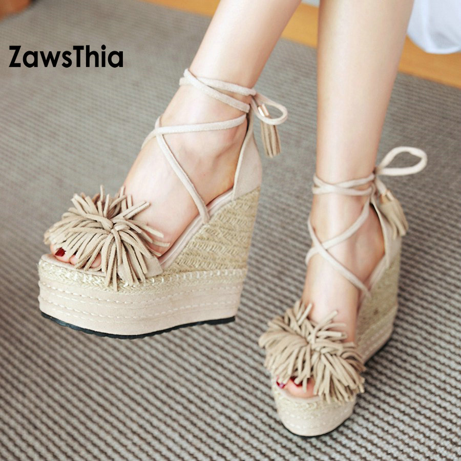 ZawsThia Wedge Sandals Shoes Strew High Heels Shoes Open Toe Platform Cross Tied Strap Women Summer Shoes With Tassels Fringes v cut solid romper with tied strap