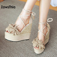 ZawsThia Wedge Sandals Shoes Strew High Heels Shoes Open Toe Platform Cross Tied Strap Women Summer