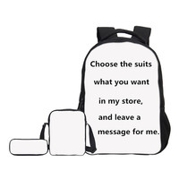 VEEVANV Brand 3 Pcs Set Combination School Bag 3D Printing Backpack Free Combination Boys Casual Bag
