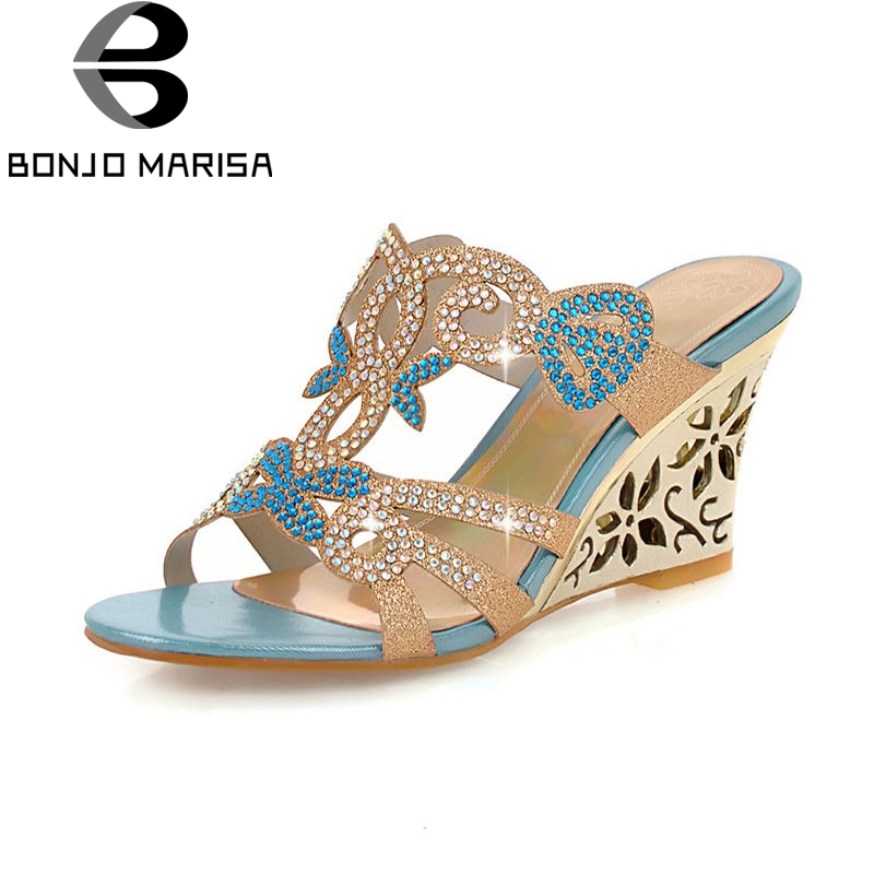 BONJOMARISA Summer Fashion Hot Sale Women Mules Bling Crystal Pumps Big Size 32-43 Mature High Wedges Heels Shoes Woman summer bling thin heels pumps pointed toe fashion sexy high heels boots 2016 new big size 41 42 43 pumps 20161217