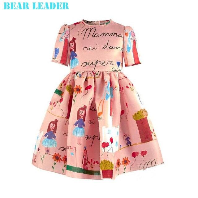 Новый 2016 дизайнер девушка осень и зима стиль Половина рукав хлопок мультфильм платье дети теплая одежда ребенка детей платья принцесс