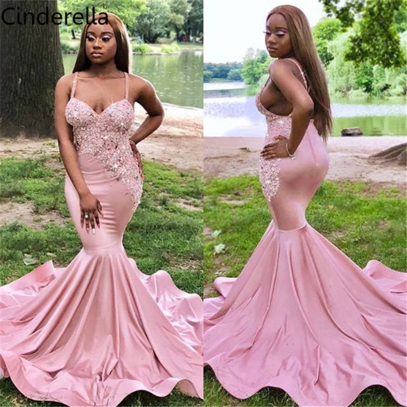 Cinderella Pink Sweetheart Spaghetti Straps Mermaid Lace Applique Crystal Beaded Satin   Prom     Dresses   Lace Party Gowns For   Prom