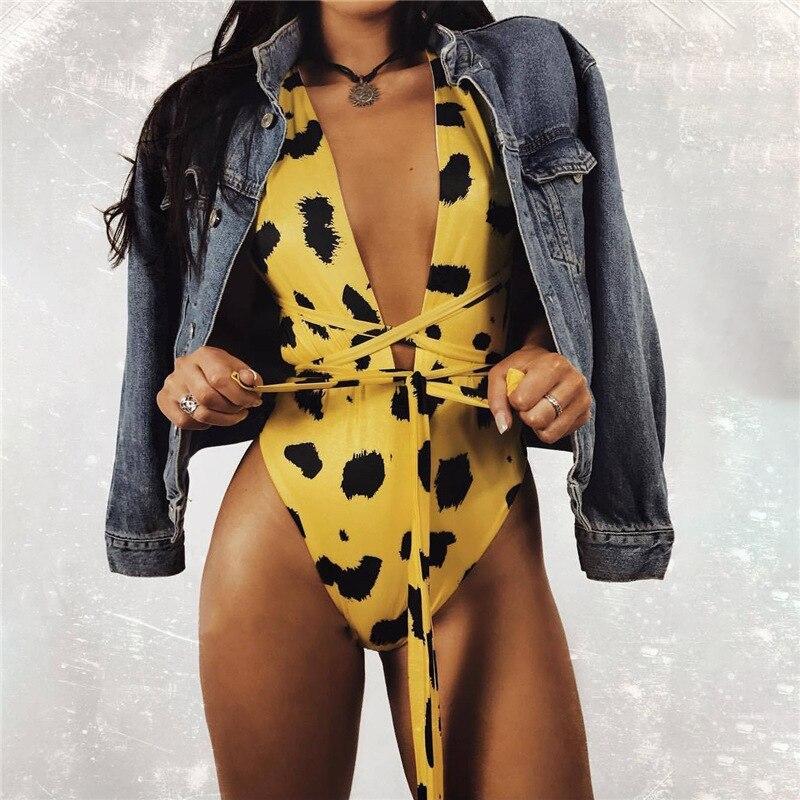 DoreenBow Neue Mode Frau Sexy Leopard Bodysuit Weibliche Tiefem V-ausschnitt Kreuz Lace Up Bodycon Bodysuits Overall Strampler Gelb