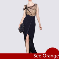 See Orange Elegant Lady Spring Summer Dress Women Sexy Dress 2018 Vintage Black Dress Slit Mesh Long Party Dress SO2213
