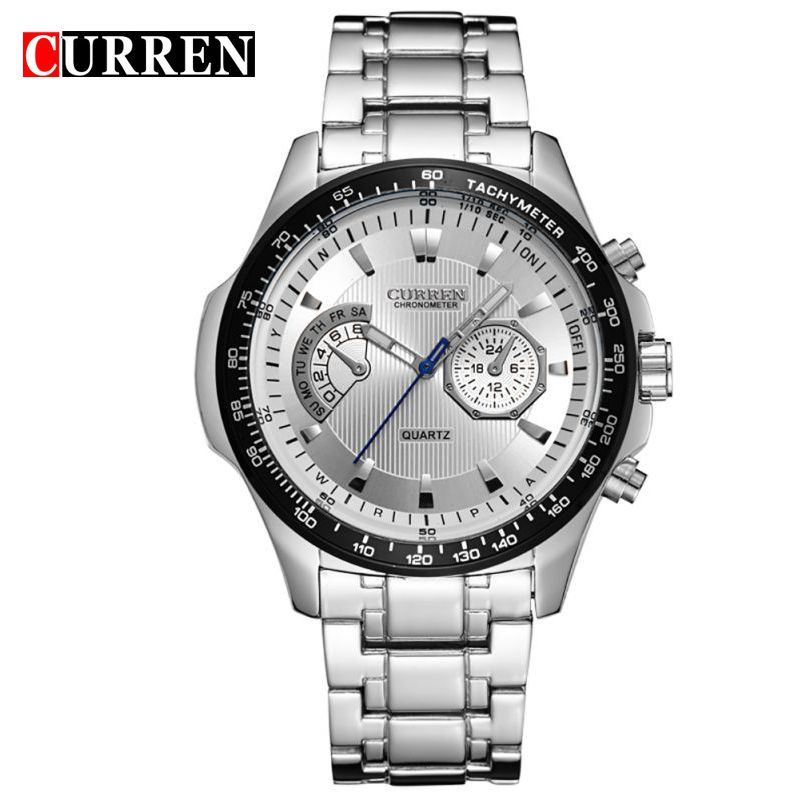 CURREN Watches Mens Quartz Fashion Casual Display Black Stainless Full Steel Strap Relogio Male Clock Wristwatch 8020