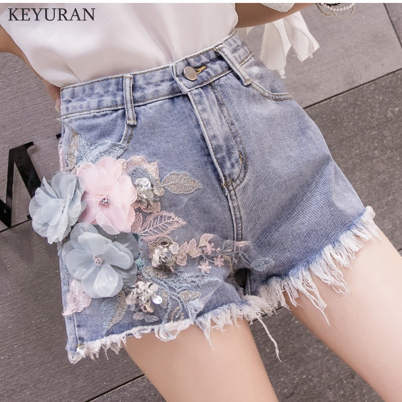 3D Flower Sequins Slim Summer Trendy Casual Shorts Denim Floral Embroidered Pattern Short Washed Street Jeans Shorts Female 3142