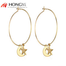 Fashion Jewelry 2018 Silver Color Moon Stars Pendant Big Gold Hoop Earrings Women's Fashion Earrings Brincos(China)
