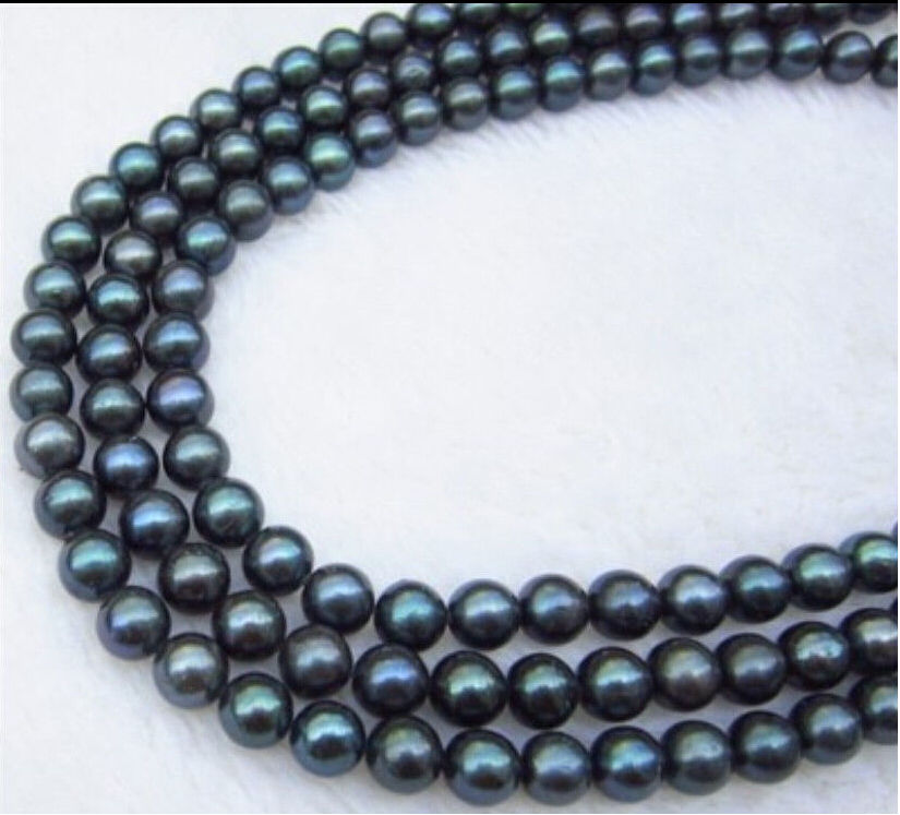 NATURAL AA++ 9 10 MM BLACK TAHITIAN PEARL NECKLACE 50 INCH 14KGP r