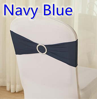 Navy Blue Colour Wholesale Chairs Sash With Round Buckles For Chair Covers Spandex Band Lycra Sash Bow Tie Wedding Decoration
