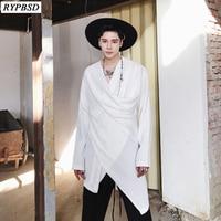 Spring New 2019 irregular Men Tshirt Long sleeved V neck Collar Solid Color Korean Fashion Loose Hiphop Streetwear Tops 2 Colors