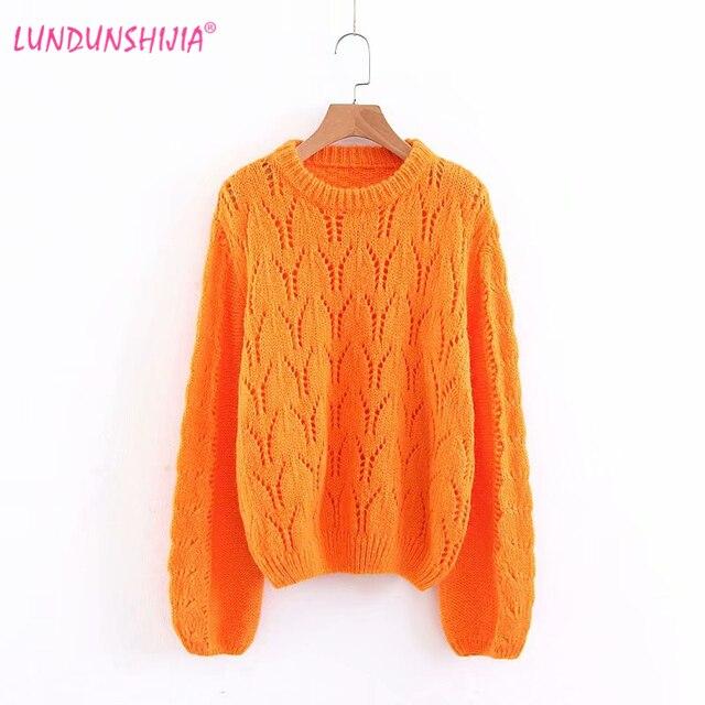 LUNDUNSHIJIA Orange Lantern Sleeve Loose Pullovers 2018 Autumn Crochet  Flower Hollow Sweaters Women Pull Jumper Elegant Outwear 568e6d11da3a