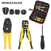 NEWACALOX Wire Stripper Multifunction Self Adjustable Terminal Tool Kit Crimping Plier Multi Wire Crimper Screwdiver