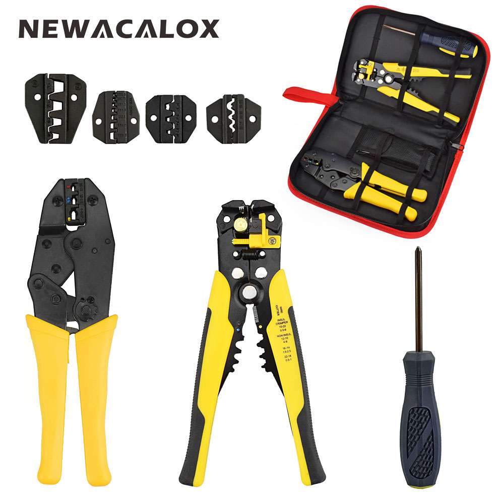 NEWACALOX Wire Stripper Multifunction Self-adjustable Terminal Tool Kit Crimping Plier Multi Wire Crimper Screwdiver