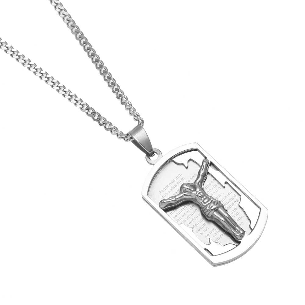 Hot Selling Suffering Jesus Hip hop Pendant Steel Permanent Color Protection Trendy Charm Necklace Christian Jewelry