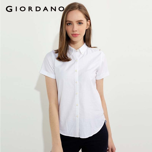 767ed80ba Giordano Women Shirt Solid Oxford Short Sleeves Tops Button Down Collar Female  Blouse 2018 Summer Clothing New Arrivals