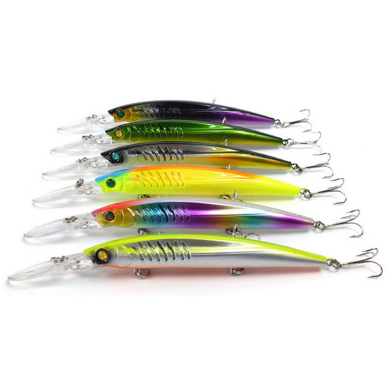 6pcs/set 14.5cm 12.7g minnow fishing lure china peche crankbait wobbler deep diving artificial bait pike lure carp fish hook crankbait fishing lure 112mm 14g hard bait wobbler crank bait minnow lure 1 2 3 5m artifical peche with treble sharp hook