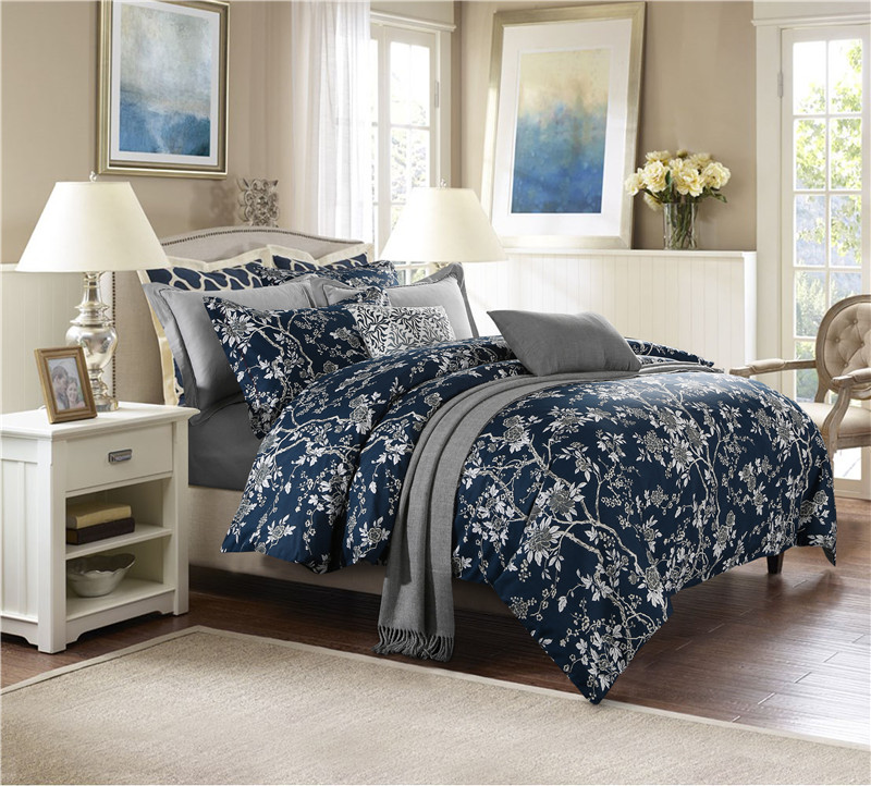 europe america style floral leaf print bedding set 100 cotton fabric queen king size duvet