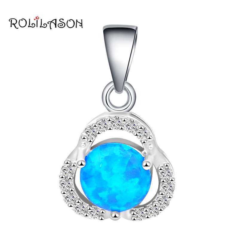 Fiery Azure-Blue Opal Ball Solitaire Pendant /& Chain Necklace in 14k Yellow Gold
