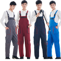 Men Women Bib Overalls Work Clothing Protective Coverall Repairman Strap Jumpsuits Working Uniforms Sleeveless Coveralls 4