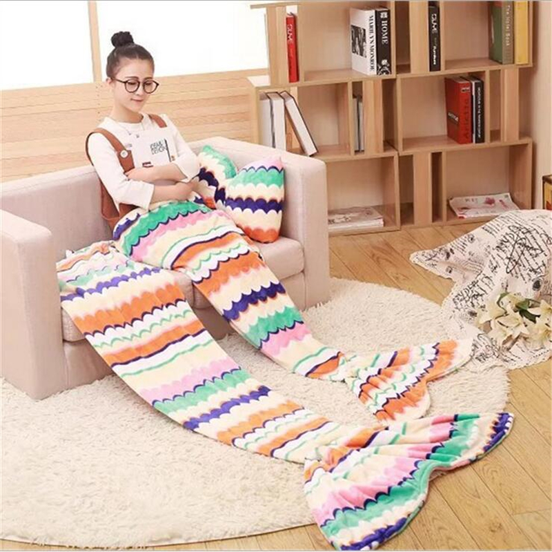 ФОТО 2Pcs New Year Spring Mermaid Blanket Colorful Mermaid Tail Blanket Sofa Mermaid Blanket Warm Blankets For Kids Adults+Bow Pillow