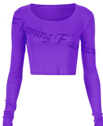 e4911f70a37c78 Sexy Womens Ladies Slim Long Sleeve Crop Top Crew Neck T Shirt Blouse  7Colors-in T-Shirts from Women s Clothing on Aliexpress.com