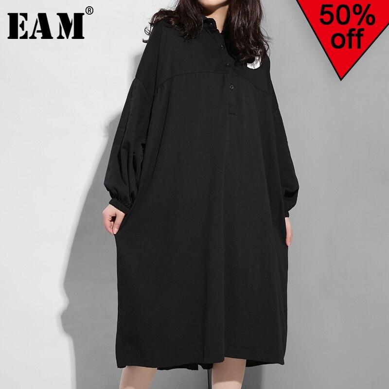 [EAM] 2019 New Autumn Winter Lapel Long Sleeve Black Back Letter Printed Fold Split Joint Big Size Dress Women Fashion Tide F955