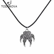 Todorova Punk Style Slavic Kolovrat Amulet Wolf Foot Pendant Necklace Men Power Male Statement Jewelry