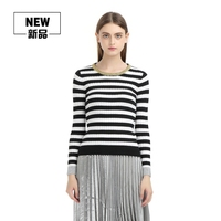 Women S Black White Pink Merino Cashmere Striped Sweaters And Pullovers Female Autumn Winter Gold Lurex