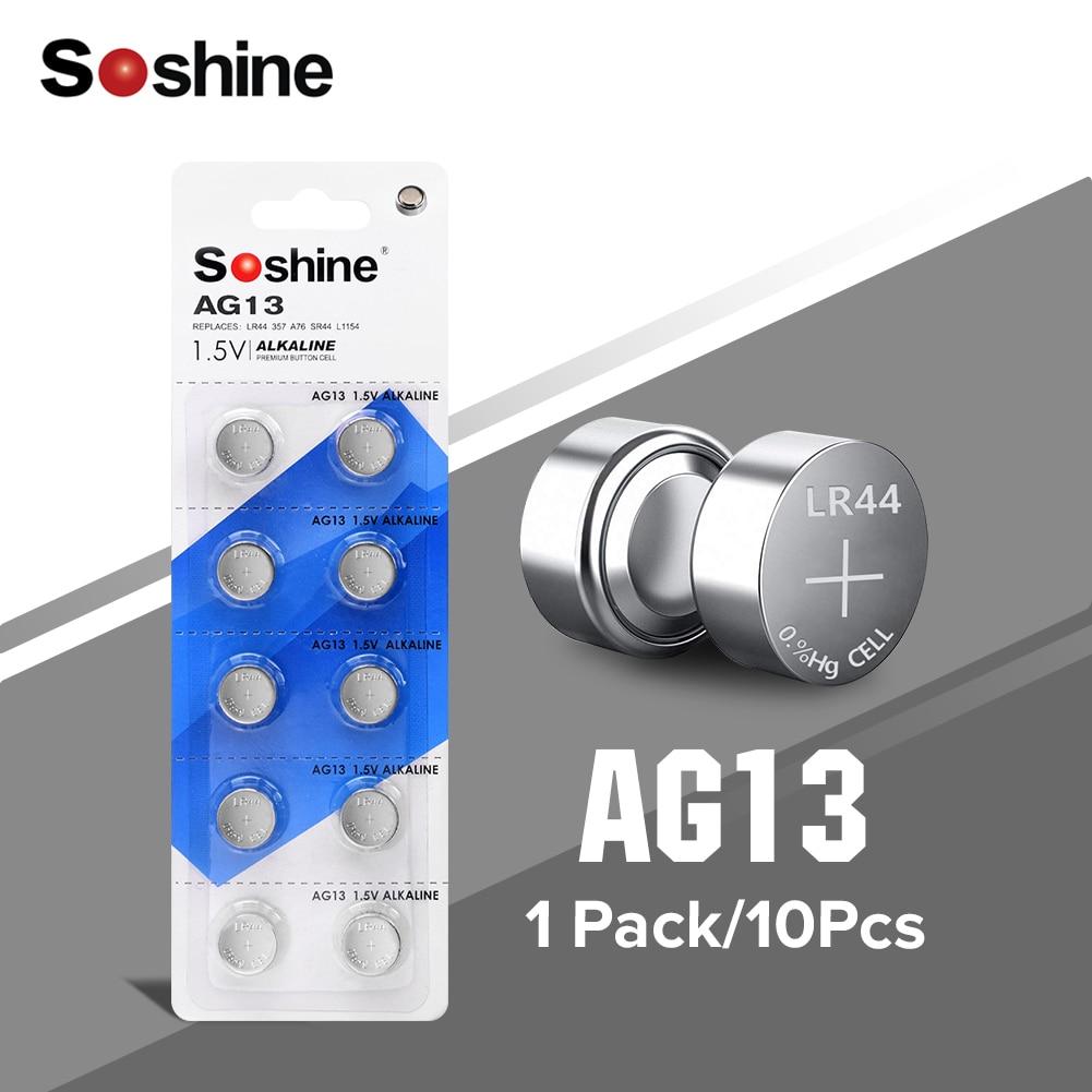 Soshine 10pcs 1.5V 28mAh ag13 Button Cell Battery lr44 Alkaline Coin Batteries A76 AG13 G13A LR44 LR1154 357A SR44 Original