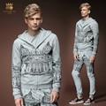 Envío de la Nueva moda Masculina nuevos hombres de Corte personalizado decoración informal chaqueta con capucha pantalones set suit 511007 fanzhuan