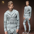Free Shipping New Male fashion new men's Court personalized casual decoration hoodies jacket pants set suit 511007 fanzhuan