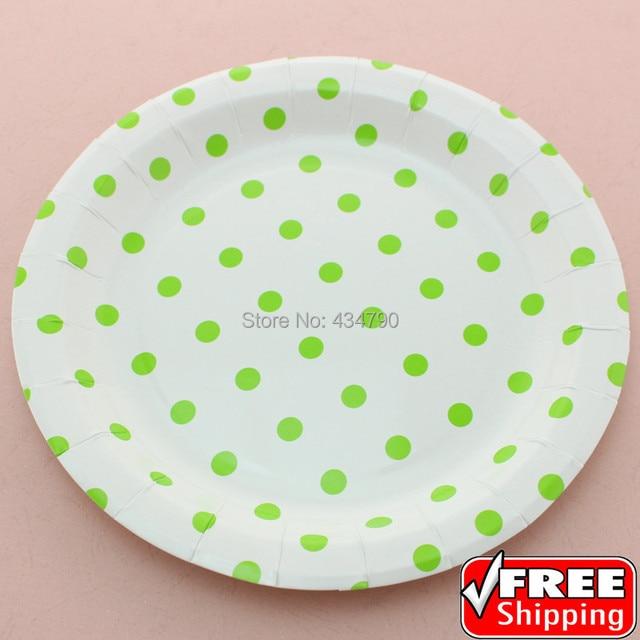 60pcs 9  Green Polka Dot Designer Paper Plates RoundBulk Disposable Party Dessert Serving  sc 1 st  AliExpress.com & 60pcs 9