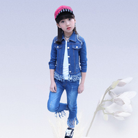 Denim clothing suit kids girls clothes quality baby girl Korean fashion sportswear Denim Solid Color Jacket+Jeans+T Shirt 4 13 y