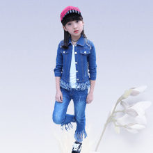 Denim clothing suit kids girls clothes quality baby girl Korean fashion sportswear Denim Solid Color Jacket+Jeans+T-Shirt 4-13 y