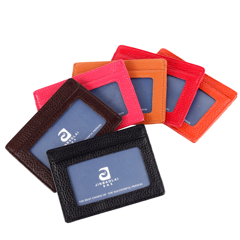 Genuine Leather Credit Card Holder Unisex Men Women Business Card Coin Wallet Women Card Bit with Photo Slot