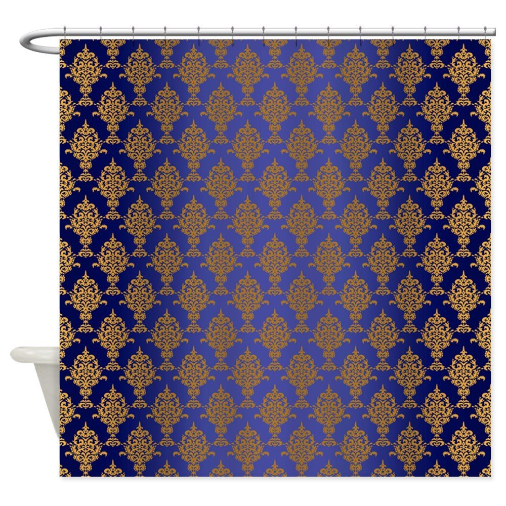 23 Gold Curtains Diversity In Use: Aliexpress.com : Buy Damask Gold On Royal Blue Decorative
