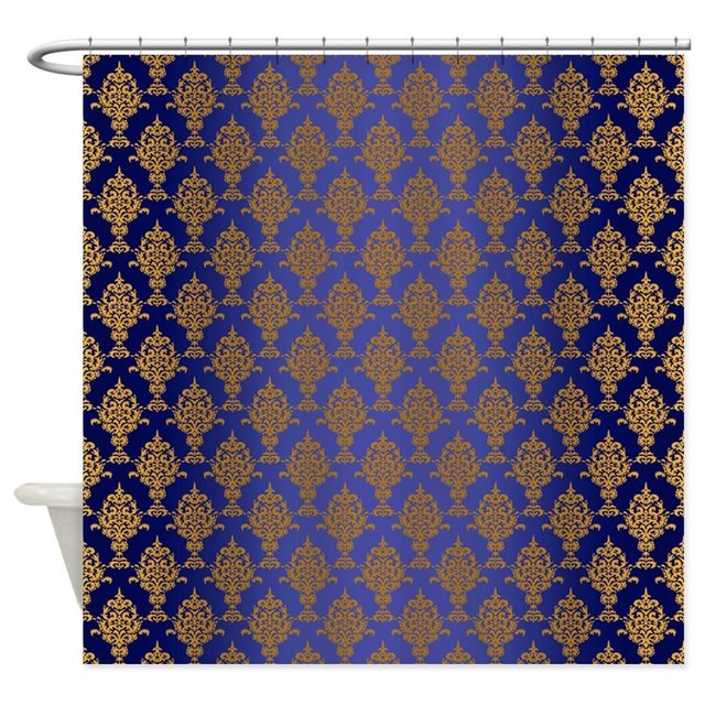 Damask Gold On Royal Blue Decorative Fabric Shower Curtain Set Non Slip  Bathroom Mats Home