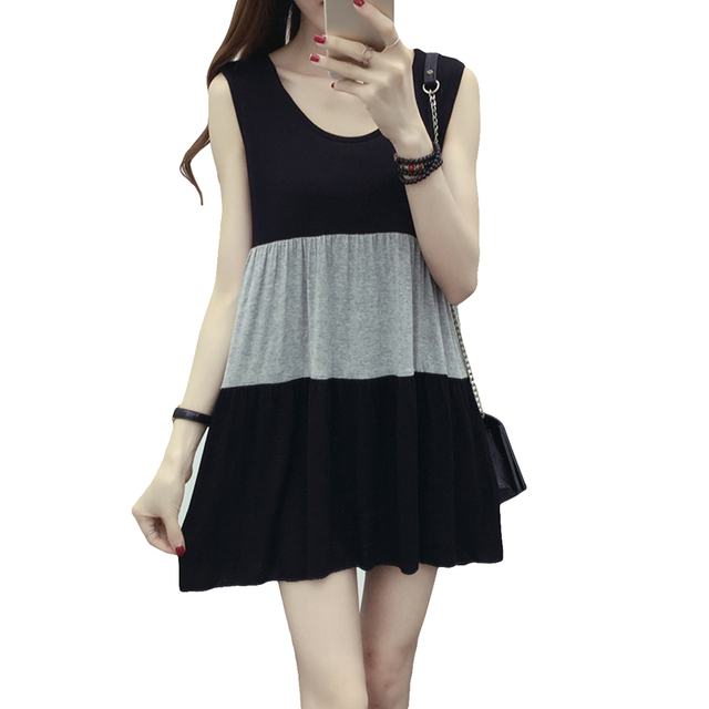 14dbd44ef55 Plus Size Modal Sleeveless Dress 2017 New Summer Women Loose Patchwork Striped  Dress Casual Was Thin Mini Vest Dress YP0222