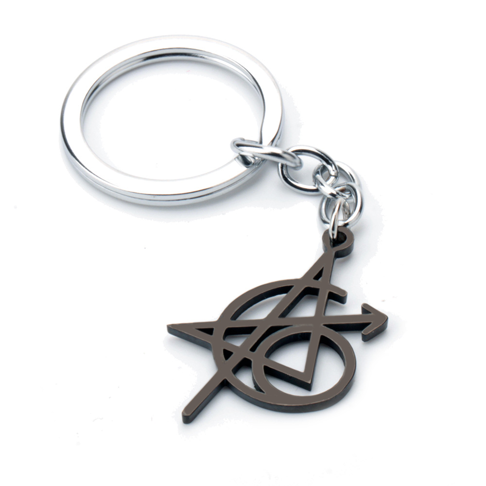 Black Widow Heart Logo Embroidered Keychain