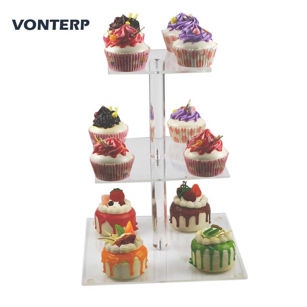 VONTERP 1PC 3 tier square acrylic cupcake stand Clear Acrylic cake Stand holder Tier 6 between 2 layer)