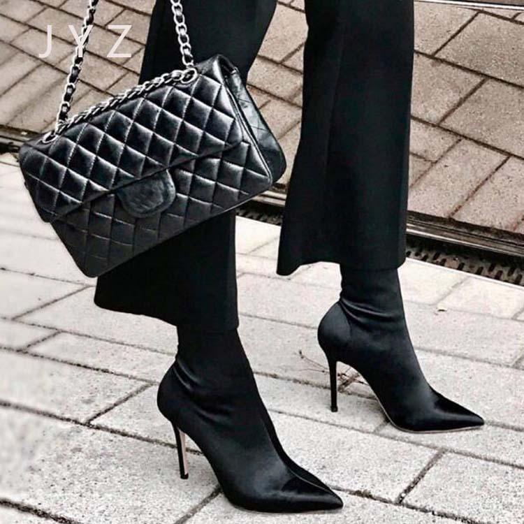 Fashion New Womens Mid Calf Boots Elastic Fabric High Heels Platform Pumps Shoes Lady aa1007