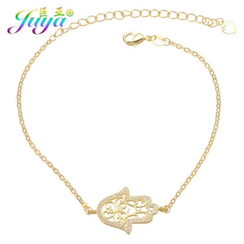 3f40ca7d5f73 Juya turco joyería suministros Micro Pave Zircon oro oro rosa mano Hamsa de  plata