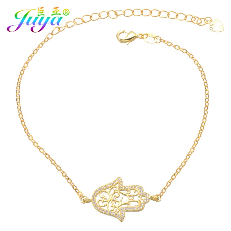 Juya Turkish Jewelry Supplies Micro Pave Zircon Gold/Rose Gold/Silver Hamsa Hand Bracelets For Women Fatima Jewelry Bracelet