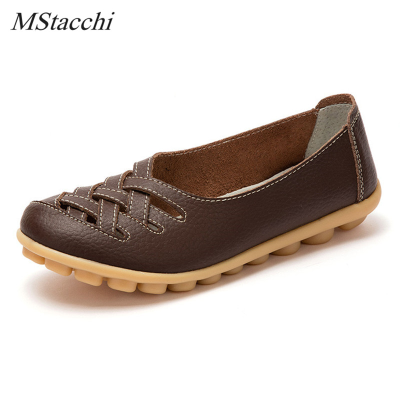 Mstacchi Summer Real Leather Shoes Woman Flats Shoes Cut-outs Breathable Oxford Shoes Slip on Ballet Casual Shoes Driving Shoes недорго, оригинальная цена
